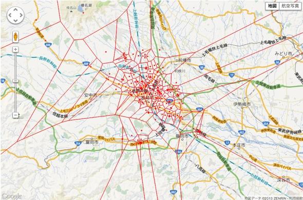 D3.js GoogleMap Voronoi Diagram