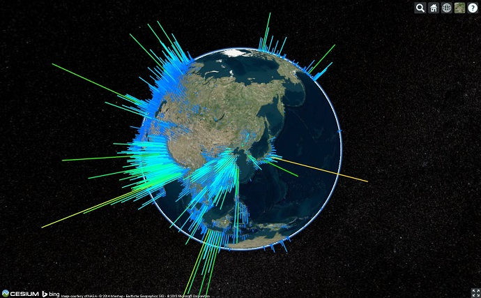 WebGL Globe形式のデータセットをCesium上に視覚化して表示する