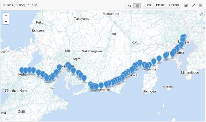 東海道五十三次 GeoJSON