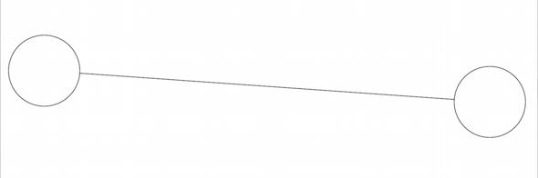 円の外周から外周にラインを引く