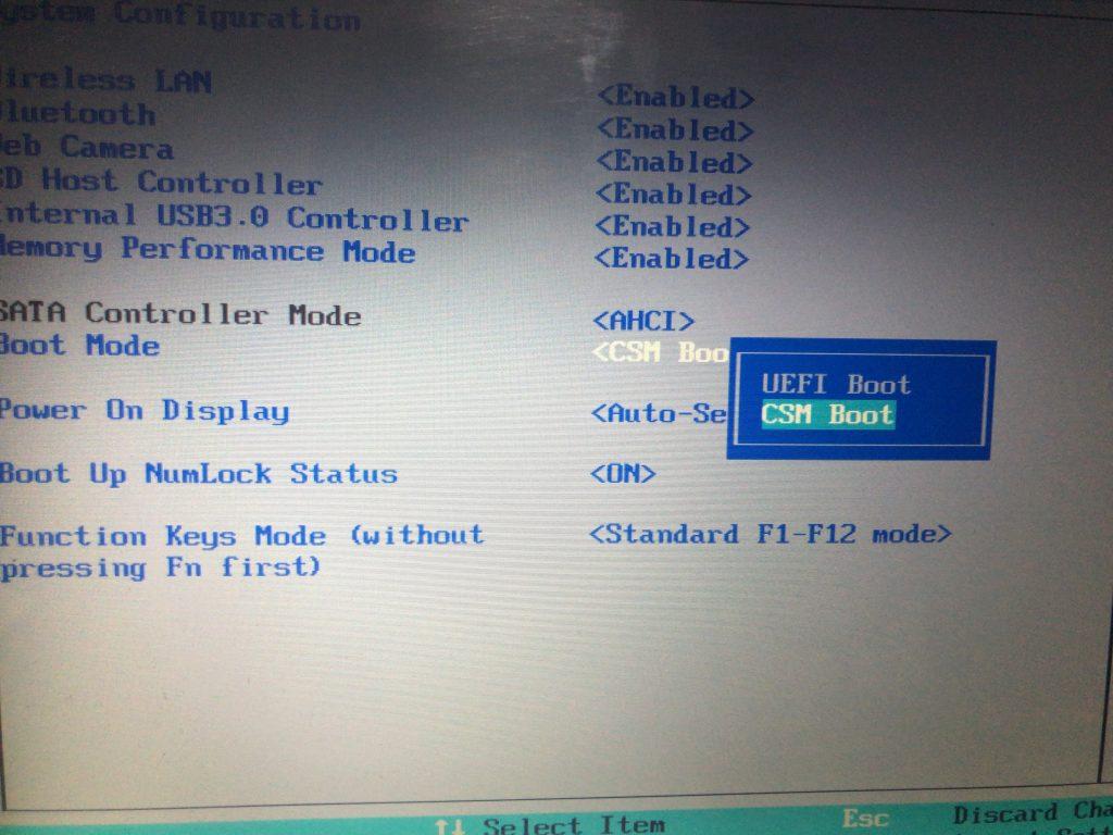Boot modeをCSM Bootに変更する